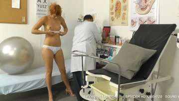 Hot legs redhead caught with elderly doctor spy cam setup
