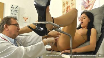 Tiny babe receives medical exam caught with spy cam
