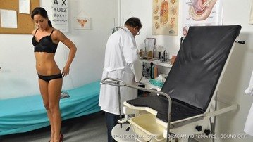 Slim babe gets naked at gyno doctor hidden cam video