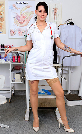 Naughty nurse Adela pussy spreading HD video