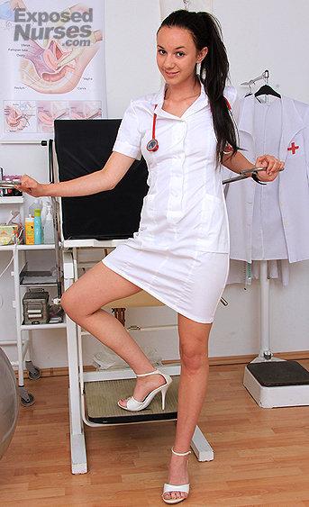 Naughty nurse Andie Darling pussy spreading HD video