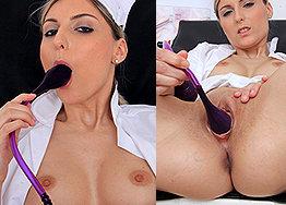 Sexy nurse Aneta speculum play