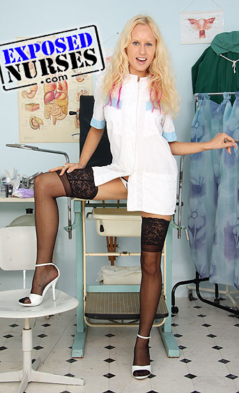 Naughty nurse Angel Wicky pussy spreading HD video