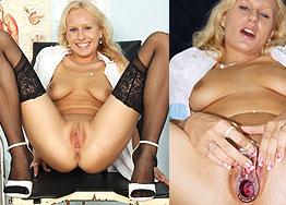 Sexy nurse Angel Wicky speculum play