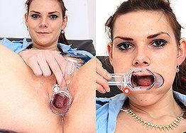 Sexy nurse Anna speculum play