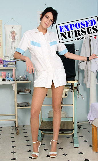 Naughty nurse Ashley Stillar pussy spreading HD video
