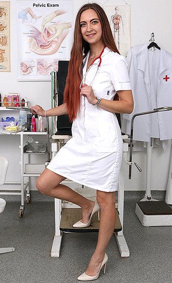 Naughty nurse Ava pussy spreading HD video