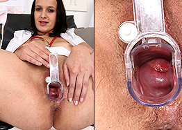 Sexy nurse Bea speculum play