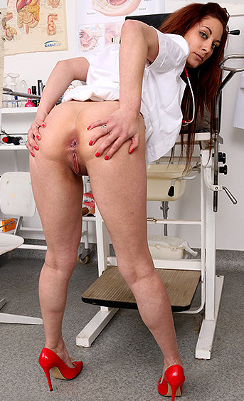 Naughty nurse Calista pussy spreading HD video