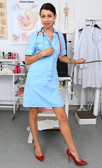 Naughty nurse Clea pussy spreading HD video