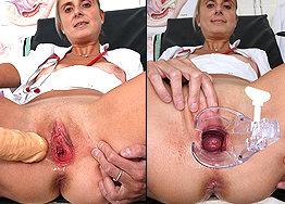 Sexy nurse Eugenia speculum play