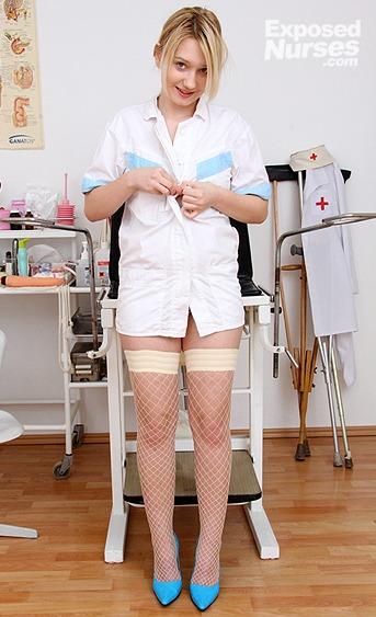 Naughty nurse Grace pussy spreading HD video