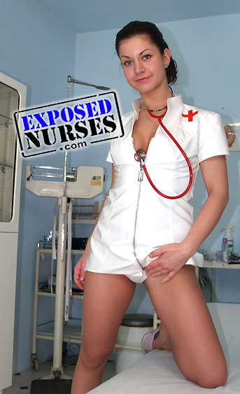 Naughty nurse Monika pussy spreading HD video