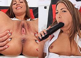 Sexy nurse Patricia speculum play