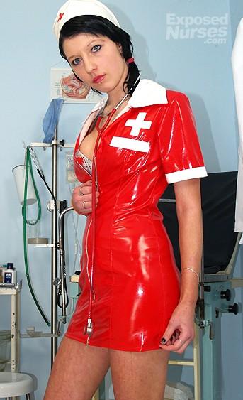 Naughty nurse Silvia pussy spreading HD video