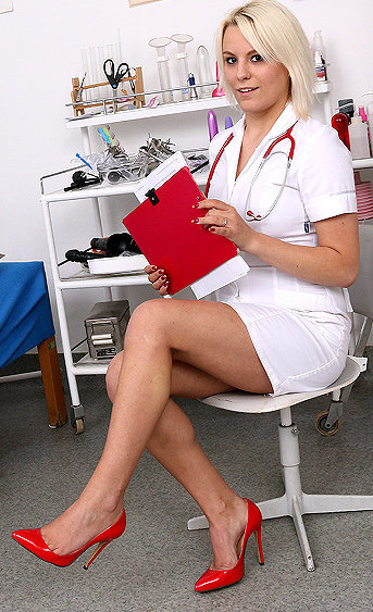 Naughty nurse Sina pussy spreading HD video