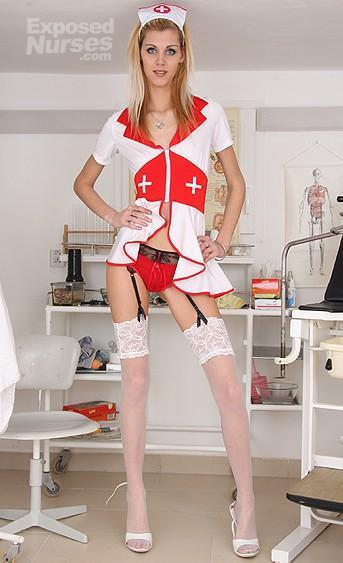 Naughty nurse Sindy Vega pussy spreading HD video