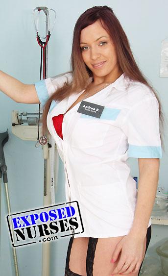 Naughty nurse Stella Fox pussy spreading HD video