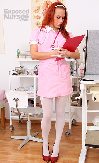 Naughty nurse Terry Sullivan pussy spreading HD video