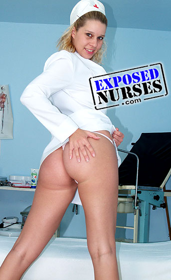 Naughty nurse Tina pussy spreading HD video