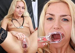 Sexy nurse Victoria Puppy speculum play