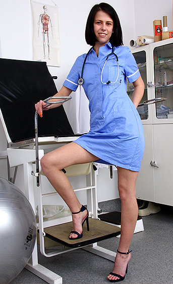 Naughty nurse Zoe pussy spreading HD video